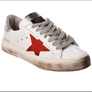 EUC Golden Goose Red/Silver May Sneaker Size 40